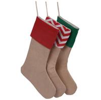 Рождество холст чулок подарочная сумка чулок 30 * 45 см Рождественская елка украшения носки рождественские чулки 7 стилей DHL Бесплатная доставка