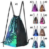 Mermaid Sequin Backpack Drawstring Portable Glittering Shoul...