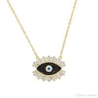 Ouro pedra negra 2019 colar olho Turco mal para as mulheres e senhoras sorte jóias da moda cor de Ouro cubic zirconia jóias presentes do partido