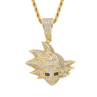 Hip Hop Iced Out Cartoon Image Pendant Necklace Micro Paved Cubic Zircon Tennis Chain for Men Women