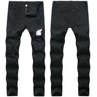 Erkekler Rasgele kot Patchwork Ripped Diz Delikler kot Kalem pantolon Elastik Artı boyutu denim 40 yüksek kaliteli Ücretsiz Kargo