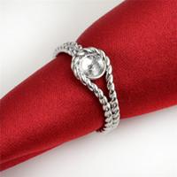 HOPEARL di gioielli dell'anello della fascia intrecciata Argento 925 fai da te dei Monili Pearl Mount 3 Pezzi