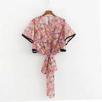 5cbf1ebff9a Wholesale summer smock tops for sale - Women Bow Decoration Printed Chiffon  Shirt Short Smock Female