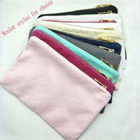 Sacchetto di trucco di tela di cotone in bianco di stili di colore 9 con zip oro dorato fodera nero / bianco / crema / grigio / blu scuro / menta / rosa caldo / rosa chiaro sacchetto cosmetico
