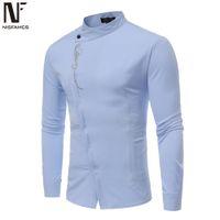 Bordados Estilo Male Tuxedo Shirts Askew Placket Man Tops gola elegante Tamanho roupas de festa Long Sleeve soltas Fit Europa