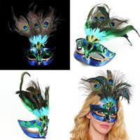 Павлин перо Маска Павлин Маскарад Маска Венецианский Faux Алмаз танцы партия маски Хэллоуин половина маски