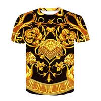 Barock-Shirt der neuen Sommer-T -Shirt 3D Digital Print T-Shirt Männer Frauen-Weinlese Luxus königlicher Blumendruck Golden Flower Marke T-Shirt M-4XL