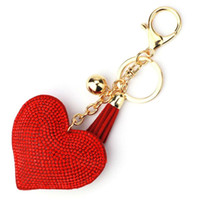 New Heart Keychain Leather Tassel Gold Key Holder Metal Crys...