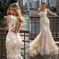 2019 Mermaid Wedding Dresses Lace 3D Floral Appliques Vestid...