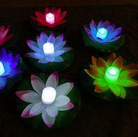 LED Sel Işık Yapay Lotus Yüzen Çiçek Şekli Lambaları Açık Yüzme Havuzu Isteyen Parti Kaynağı Için 50 adet / grup GB121