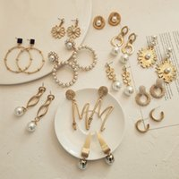 Flatfoosie di moda gli orecchini di dichiarazione per le donne 2020 dei nuovi monili d'oro opaco geometrica rotonda perla simulata ciondola orecchini di goccia