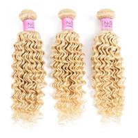 Saç 613 saç rengi sarı derin dalga 10-24 inç Remy insan saç örgü platin sarısı 3 demetleri demetleri atkı