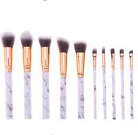 Кисти для макияжа с мраморной ручкой 10шт / комплект Профессиональные кисти для макияжа ye Shadow Кисточка для бровей для губ для макияжа глаз Comestic Tool KKA6798