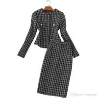 Высококачественные женские юбки-карандаш Новая мода женские костюмы с длинным рукавом элегантный твидовый пиджак и юбка из двух частей набор