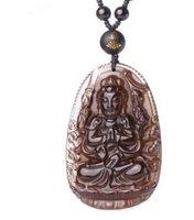 자연 얼음 흑요석 조각 된 부처님 콴 - 운이 행운의 부적 펜던트 패션 펜던트 진주 목걸이 쥬얼리