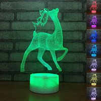 Cute Deer Shape 3D LED Table Lamp Baby Touch Colorful 7 Colo...