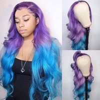 AIVA Full Lace Human Hair Purpe Ombre Blue Wigs with Baby Ha...
