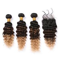 # Связка 1B-27 Ombre человеческих волос с кружевом Закрытия Черного Браун Honey Blonde 3Tone Ombre малайзийских глубокой волной переплетения человеческих волос