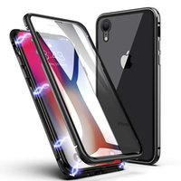 For iPhone XS Max Magnetic Adsorption Case Front Back Temper...