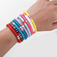 Perlé, brosses femmes 6mm Bohemian Colorful Clay Bracelets pour la plage d'été Charme élastique Pottery douce bracelet femelle Boho bijoux