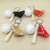 Guantes Anillo softball Llavero del béisbol Llavero de la pelota de béisbol madera de la cadena del palo bolsa colgante dominante del encanto GGA1788 favor bolso del partido colgantes