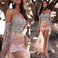 2020 Sexy Африканских бисером Hi-Lo Выпускные платья с щелевой Sequined плеча с длинным рукавом черные девушки выпускной вечерние платья E033