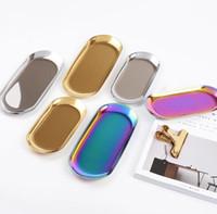 23 * 9.5 cm Nordic chic metal acero inoxidable Bandeja de almacenamiento de latón almacenamiento ovalado / bandeja de té oro / plata / Gradiente de color popular SN2437