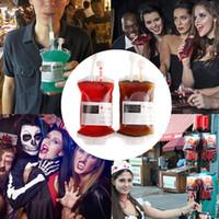 350ml Halloween blodväska dricka behållare cosplay vattenflaska dekorer skalle blodtyp positivt energi påse rekvisita drycker dryck påsar