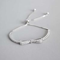 Ruifan Fashion Box Kette Bowknot 100% 925 Sterling Silber Armband Damen Kubikzircon Armbänder Weiblich Frauen Schmuck Ybr057 Y19061003
