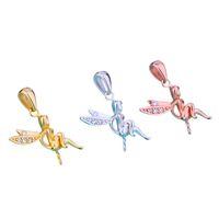 Sterling 925 Silber Frauen Anhänger Engel CZ Fit 5-12mm Runde Perlen Perlen Halbmontage Anhänger Einstellung Großhandel