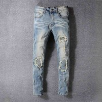 2020SS Hip-Hop HAKA Light Blue Loch-Jeans Loch Zipper Fashion Denim Männer Dekoration Loch-Jeans Herren Pants py18