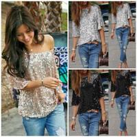 패션 캐주얼 새로 여름 여성 T 셔츠 반소매 O-넥 풀오버 스팽글 고체 느슨한 셔츠 3 스타일 탑