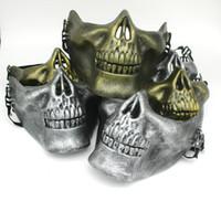 Половина лица защитная маска черепа золото серебро страйкбол маска хэллоуин ну вечеринку страшные маски маскарад косплей пластик маска ужасов DBC VT0781