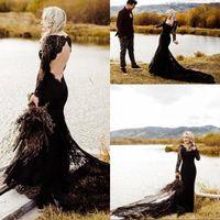 2020 Noir Robes De Mariée Sirène Chérie Manches Longues Balayage Train Robes De Mariée Avec Dentelle Applique Dos Nu Robes De Mariée