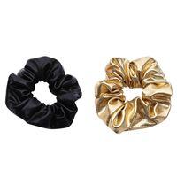 Femmes Pu 2019 Cuir Élastique Cravates Filles Hairband Corde Ponytail Holder Scrunchie Or Noir Bandeaux Accessoires 2019