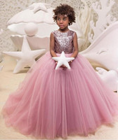 b5eef4135 Wholesale glamorous flower girl dress for sale - Jewel A Line Sequins Hand  Made Flowers Sweep