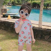 Ins Kinder Wassermelone Badeanzug Mode Mädchen Früchte gedruckt Kurzarm Einteiler Badeanzug Kinder Casual Swimwear C6291
