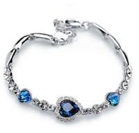 المحيط الأزرق أساور الشظية مطلي كريستال حجر الراين القلب سحر سوار الإسورة هدية مجوهرات سحر أساور