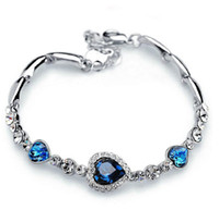Ocean Blue Bracelets Sliver Plated Crystal Rhinestone Heart Charm Bracelet Bangle Gift Jewelry Charm Bracelets
