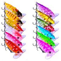 1 stks 12-color 4 cm 4.15 g cicade plastic hard aas lokt vissen haken 10 # haak kunstmatige aas pesca visgerei accessoires
