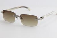 Fábrica Doble Fila Diamante Fashionless Sunless Sunglasses Blanco Cuerno genuino Buffalo Horn 8200757 Gafas masculinas y femeninas