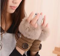 Botão luvas menina das mulheres de malha Faux Coelho luvas sem dedos Fur inverno quentes ao ar livre Mittens colorido Acessórios de Moda GB1644