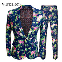 YUNCLOS 2019 New Men' s Floral Printed Suits Slim Fit Pa...