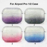 Bling de lujo del brillo caso para AirPod Caso del gradiente colores la portada de Airpods 1 2 Airpods casos pro duro del PC EarPods