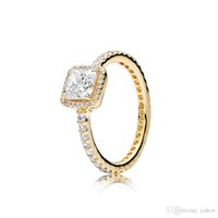 NUEVO 3 colores cuadrado boda piedra de la CZ de diamantes anillo original para Pandora plata 925 de oro rosa de oro amarillo plateó los anillos Conjunto para la Mujer