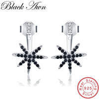 [BLACK AWN] 925 Sterling Silver Jewelry Trendy Stud Earrings...