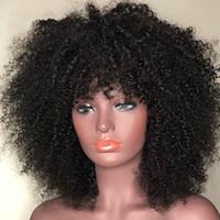IShow sacudida corta recta pelucas pelucas de cabello humano con Bangs cuerpo flojo peruano Ninguno de encaje pelucas de pelo indio de Malasia
