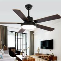 Ventilateur nordique ventilateur cinq feuilles ventilateur de plafond lumineux salle de séjour salle de salle à manger grand vent ventilateur électrique plafond plafonnier feuilles de bois