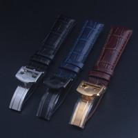 Bracelet de montre en cuir véritable de haute qualité Bracelet de montre noir 20mm 22mm Accessoires de montre pour homme