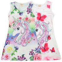 새로운 유니콘 플로랄 인쇄 여자 드레스 4-9t 아이들 여름 옷 여자 민소매 드레스 점퍼 키즈 디자이너 옷 여자 DHL SS199